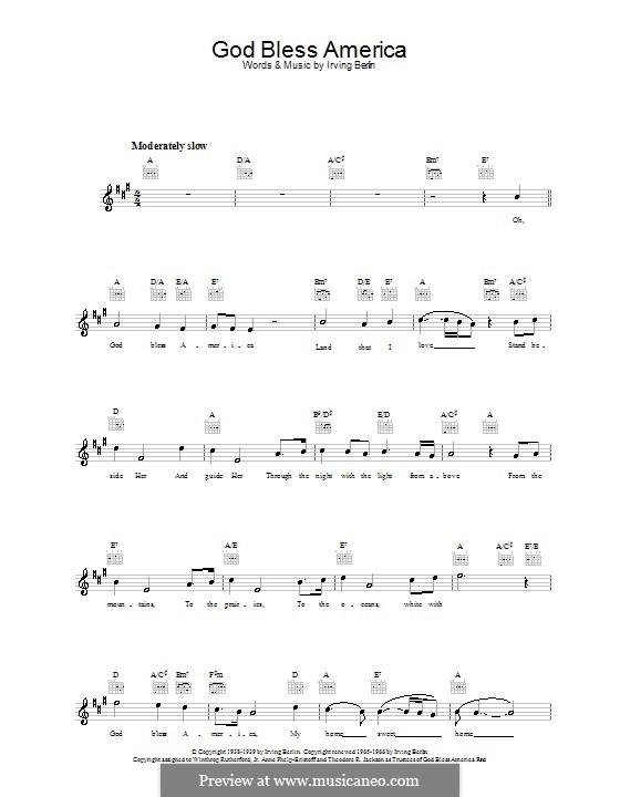 God Bless America: Мелодия, текст и аккорды by Ирвинг Берлин