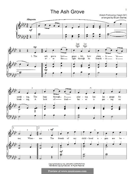 The Ash Grove: Для голоса и фортепиано (или гитары) by folklore