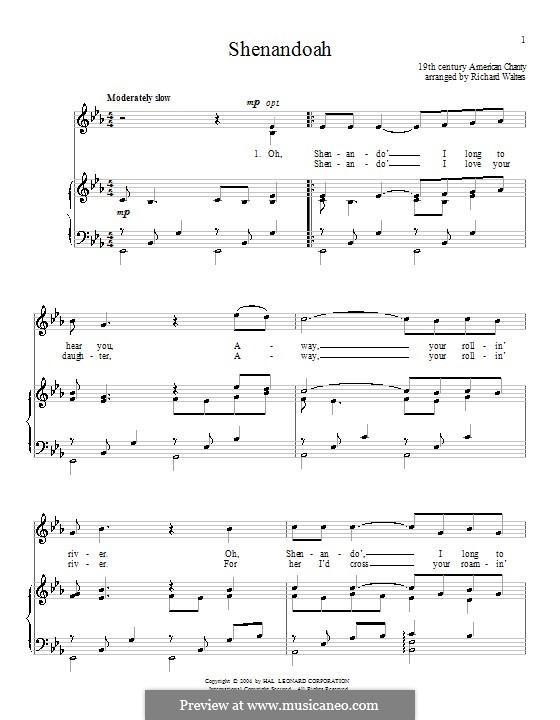 Shenandoah: Для голоса и фортепиано (или гитары) by folklore