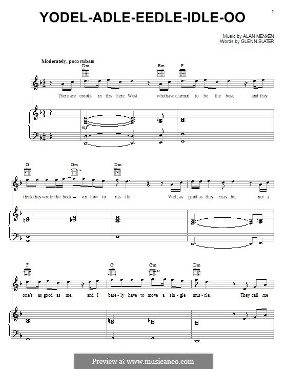 Yodel-Adle-Eedle-Idle-Oo (from Home on the Range): Для голоса и фортепиано (или гитары) by Alan Menken