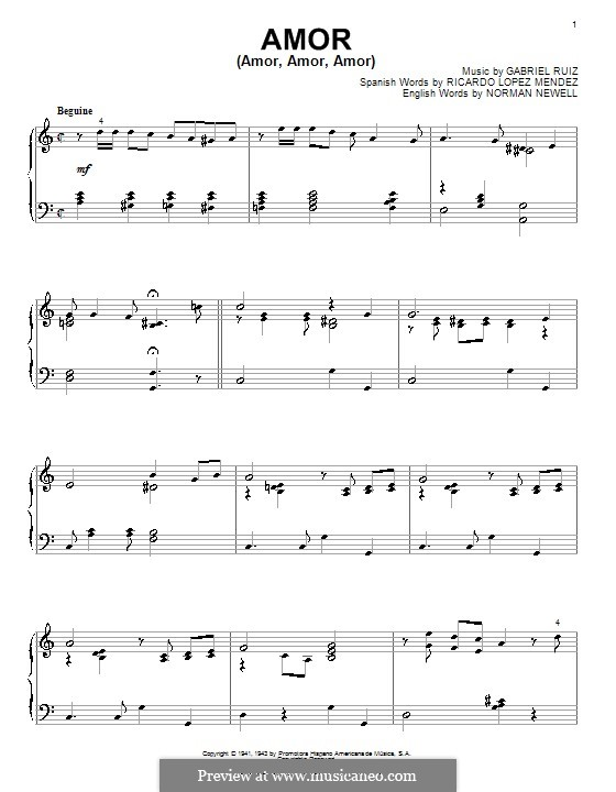 Amor (Amor, Amor, Amor): Для фортепиано by Norman Newell, Ricardo Lopez Mendez