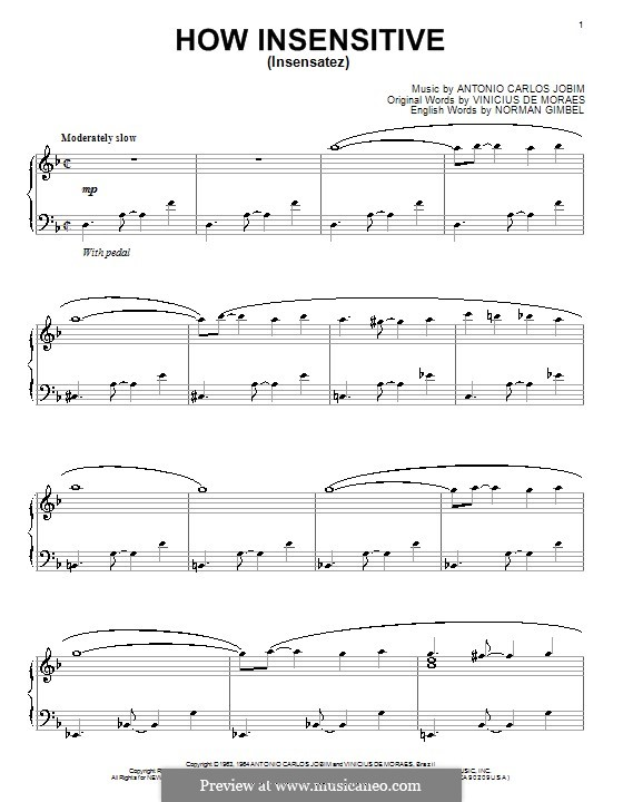 How Insensitive (Insensatez): Для фортепиано by Antonio Carlos Jobim