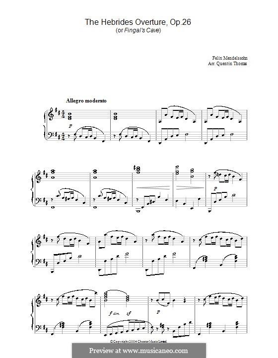 Гибриды или Фингалова пещера, Op.26: Для фортепиано. Фрагмент (ноты высокого качества) by Феликс Мендельсон-Бартольди