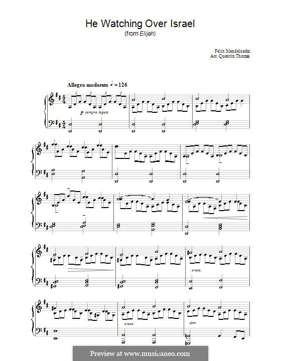 Илия, Op.70: He Watching over Israel by Феликс Мендельсон-Бартольди
