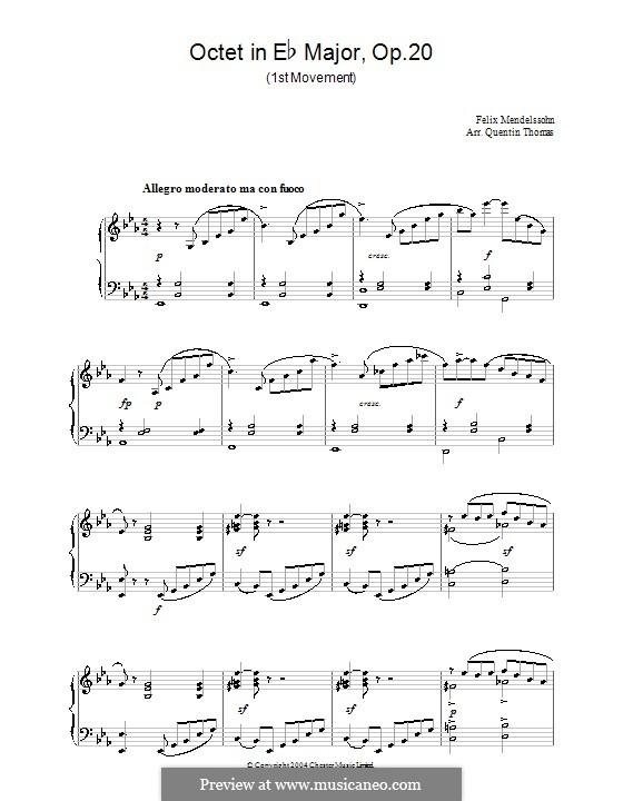 Октет для струнных ми-бемоль мажор, Op.20: Часть I. Версия для фортепиано by Феликс Мендельсон-Бартольди