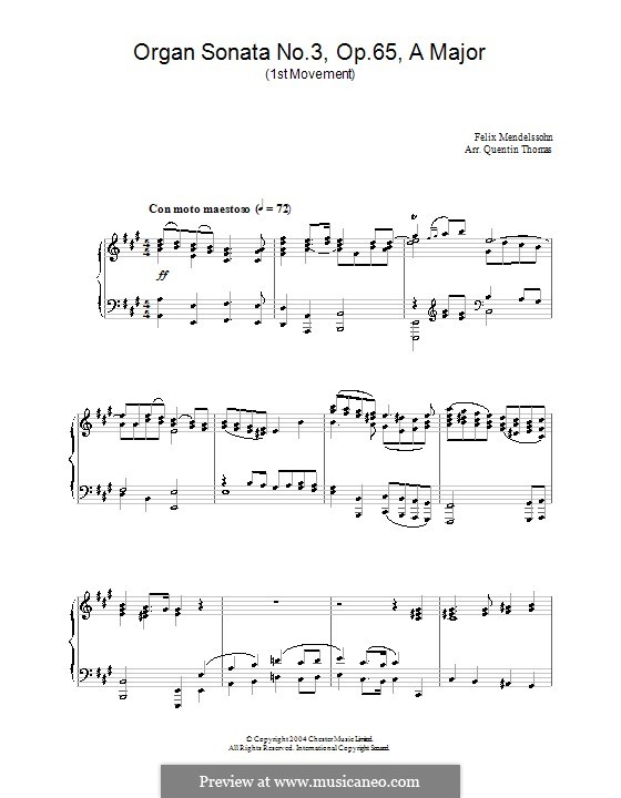 Сонаты для органа, Op.65: Соната No.3. Часть I by Феликс Мендельсон-Бартольди