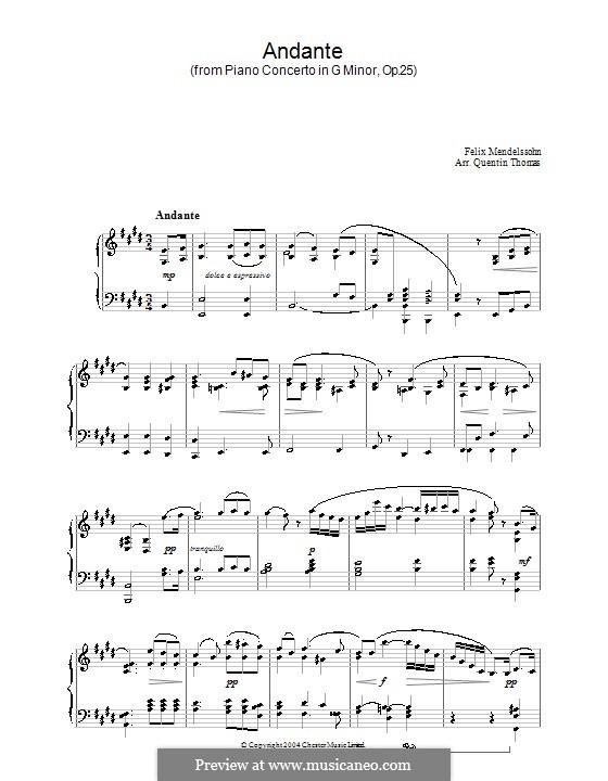 Концерт для фортепиано с оркестром No.1 соль минор, Op.25: Часть II. Версия для фортепиано by Феликс Мендельсон-Бартольди