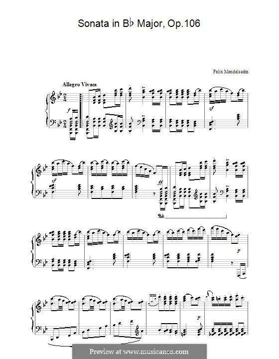 Соната для фортепиано No.3 си-бемоль мажор, Op.106: Для одного исполнителя by Феликс Мендельсон-Бартольди