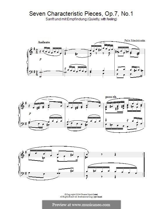 Семь характерных пьес, Op.7: Пьеса No.1 by Феликс Мендельсон-Бартольди