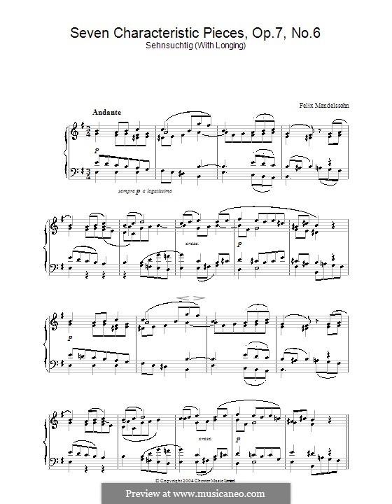 Семь характерных пьес, Op.7: Пьеса No.6 by Феликс Мендельсон-Бартольди