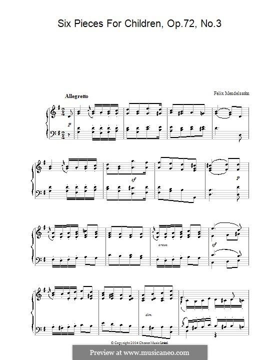 Шесть детских пьес, Op.72: Пьеса No.3 by Феликс Мендельсон-Бартольди