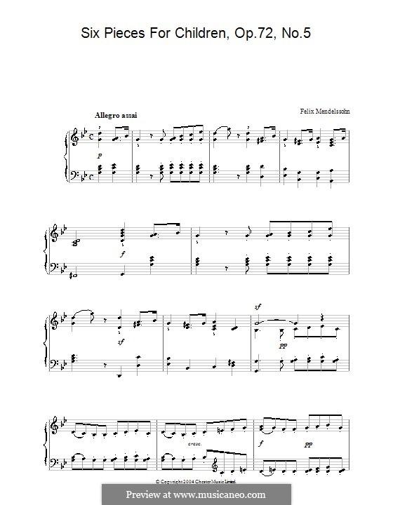 Шесть детских пьес, Op.72: Пьеса No.5 by Феликс Мендельсон-Бартольди