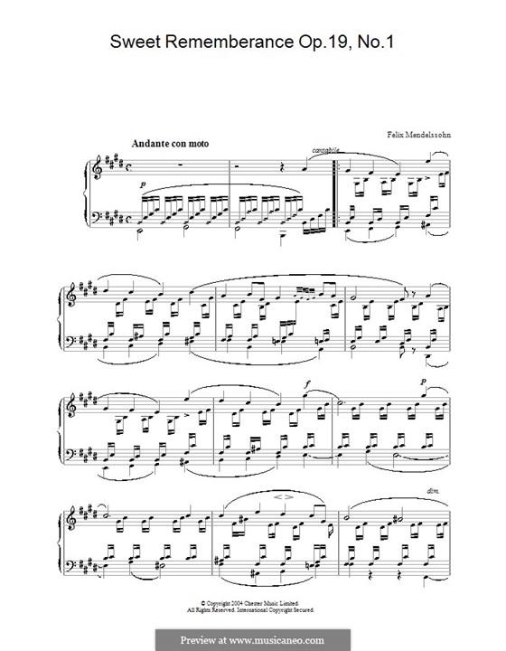 Песни без слов, Op.19b: No.1 Andante con moto by Феликс Мендельсон-Бартольди