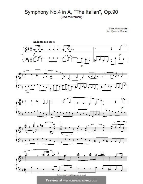 Симфония No.4 ля мажор 'Итальянская', Op.90: Часть II (Фрагмент), для фортепиано by Феликс Мендельсон-Бартольди