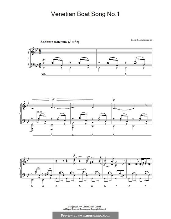 Песни без слов, Op.19b: No.6 Песня венецианского гондольера by Феликс Мендельсон-Бартольди