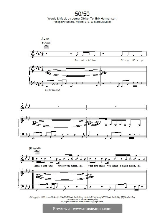 50/50 (Lemar): Для голоса и фортепиано (или гитары) by Hallgeir Rustan, Lemar Obika, Tor Erik Hermansen