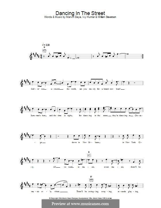 Dancing in the Street (Martha & The Vandellas): Мелодия, текст и аккорды by Ivory Joe Hunter, Marvin P. Gaye, William Stevenson