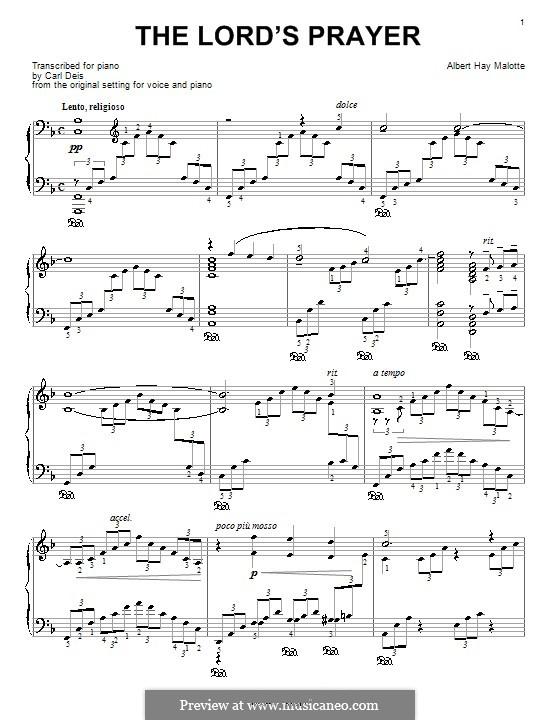 The Lord's Prayer: Для фортепиано (с аппликатурой) by Albert H. Malotte