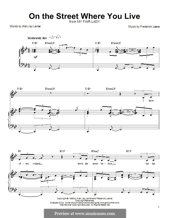 On the Street Where You Live (from My Fair Lady): Для голоса и фортепиано (или гитары) by Frederick Loewe