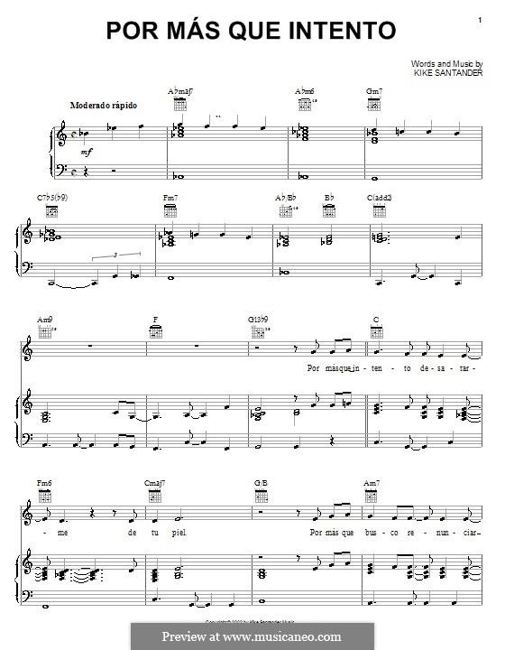 Por Mas Que Intento: Для голоса и фортепиано (или гитары) by Kike Santander