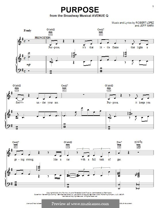 Purpose (Avenue Q): Для голоса и фортепиано (или гитары) by Jeff Marx, Robert Lopez