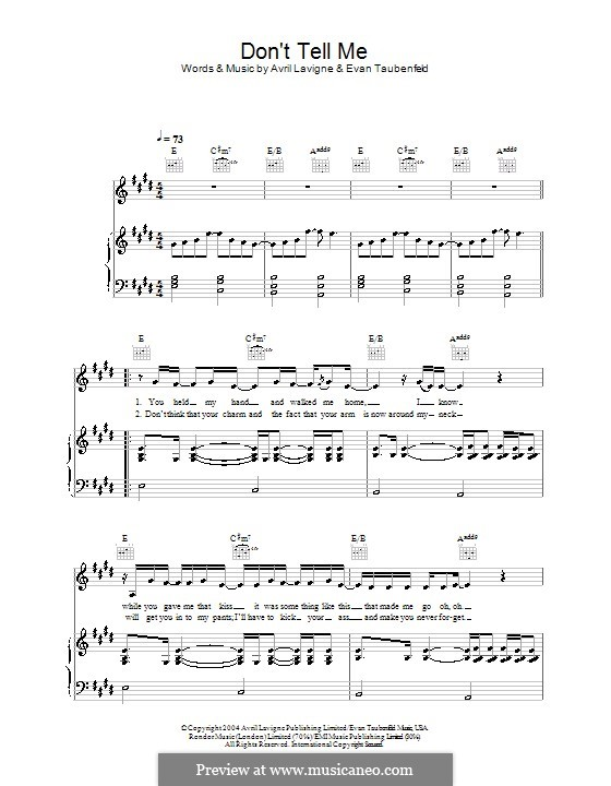 Don't Tell Me (Avril Lavigne): Для голоса и фортепиано (или гитары) by Evan Taubenfeld