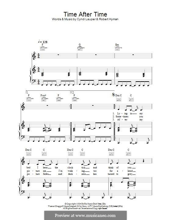 Time after Time: Для голоса и фортепиано (или гитары) by Cyndi Lauper, Robert Hyman