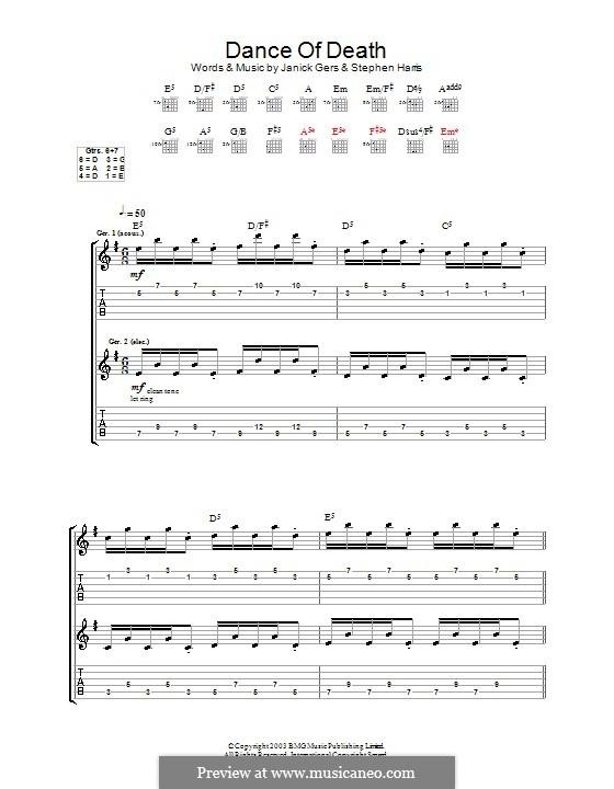 Dance of Death (Iron Maiden): Гитарная табулатура by Janick Gers, Steve Harris