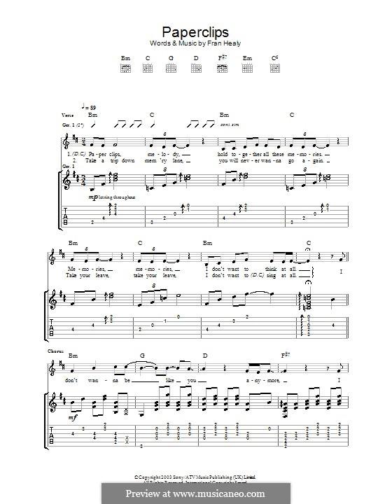 Paperclips (Travis): Гитарная табулатура by Fran Healy