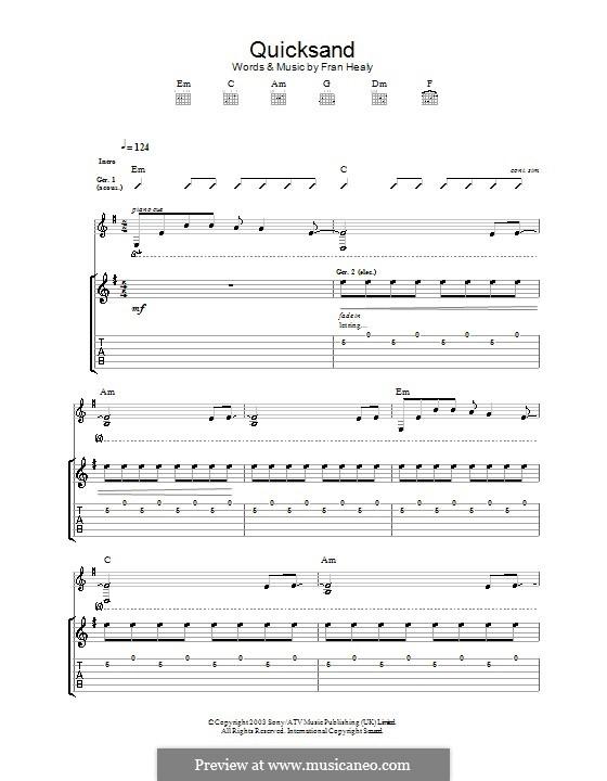 Quicksand (Travis): Гитарная табулатура by Fran Healy