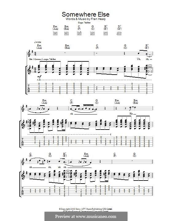 Somewhere Else (Travis): Гитарная табулатура by Fran Healy