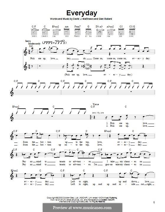 Everyday (Dave Matthews Band): Для гитары (с вариантом боя) by David J. Matthews, Glen Ballard