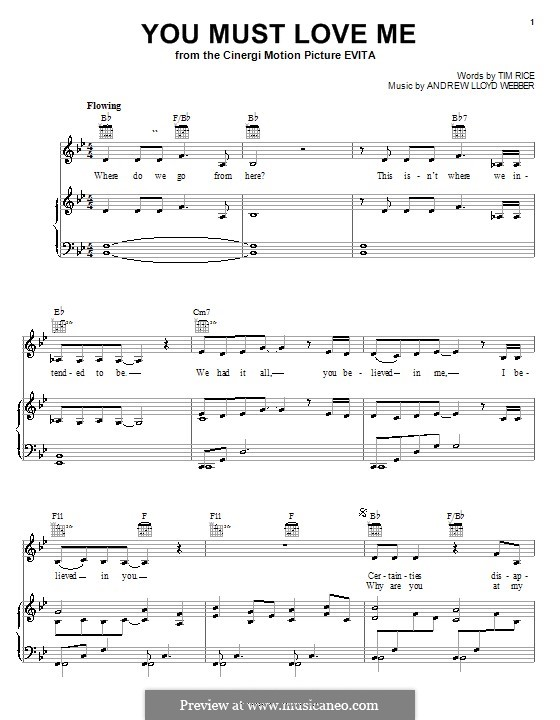 You Must Love Me: Для голоса и фортепиано (или гитары) by Andrew Lloyd Webber