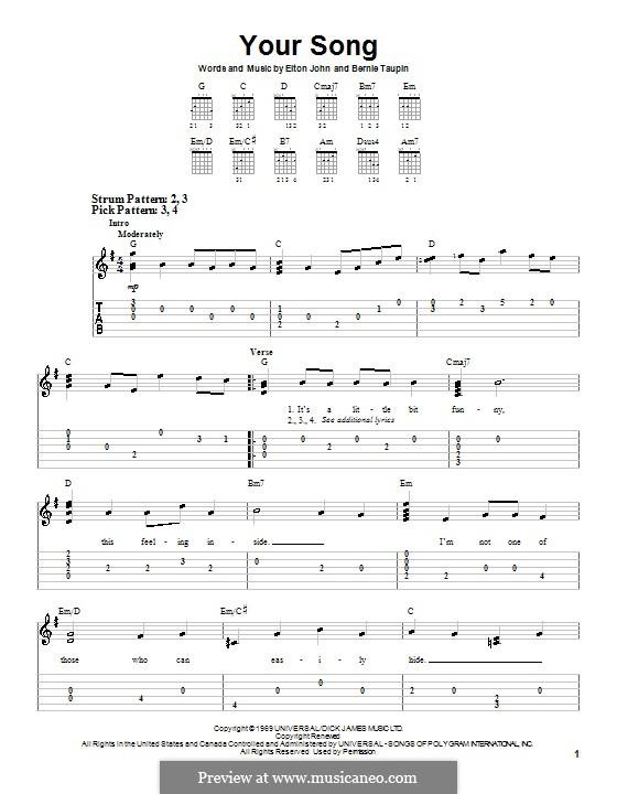 Your Song: Для гитары (очень легкая версия) by Elton John