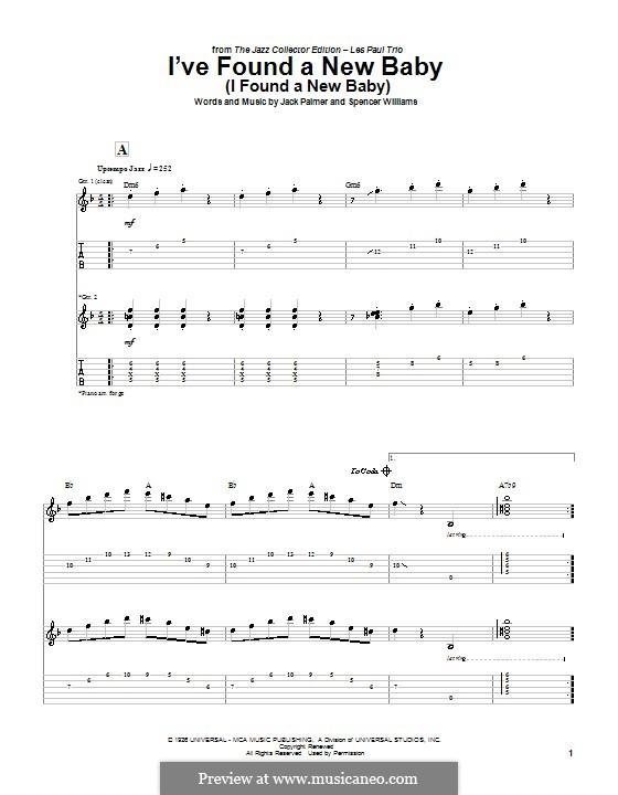 I've Found a New Baby (I Found a New Baby): Для гитары с табулатурой by Jack Palmer, Spencer Williams